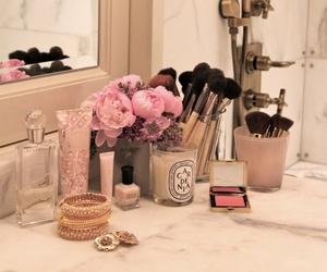 makeup, mirror, and bathroom image