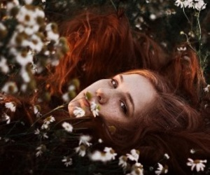 girl, flowers, and ginger image