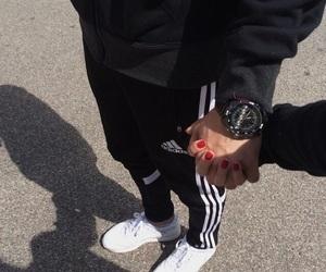 couple, adidas, and black image