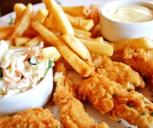 Chicken, fries, and coleslaw image