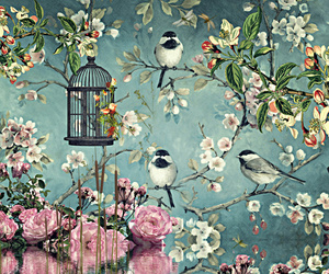 asian, birds, and flowers image