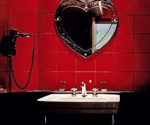 red, bathroom, and heart image