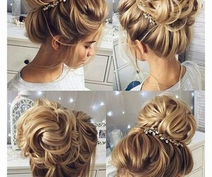 blonde, bun, and hair image