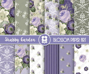blue flowers, flowers, and scrapbook image