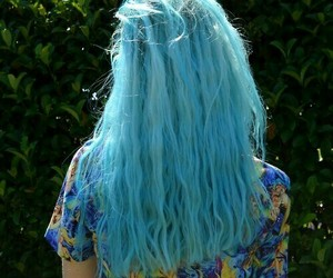 alternative, blue hair, and curly image