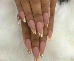 nails, gold, and pink image