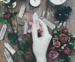 crystal, rose, and witch image
