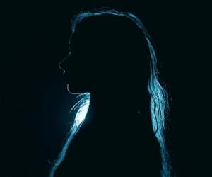 girl, blue, and dark image