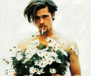 flowers, brad pitt, and cigarette image