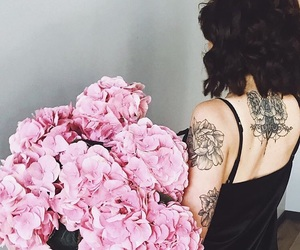 attention, back tattoo, and bouquet image