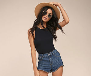 bodysuit, cutoffs, and outfit image