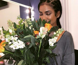 flowers, hair, and makeup image