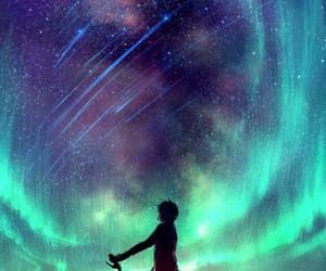 stars, sky, and anime image