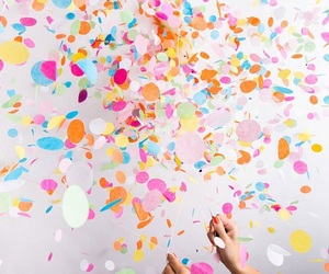confetti, pink, and balloon image