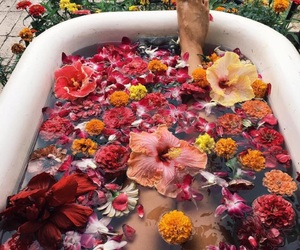 flowers, bath, and beauty image
