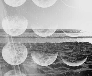 moon, black and white, and sea image