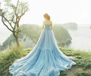 blue, bride, and gown image