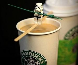 star wars, starbucks, and coffee image