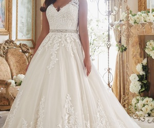 wedding dress, wedding gowns, and a line image