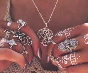 rings, boho, and necklace image
