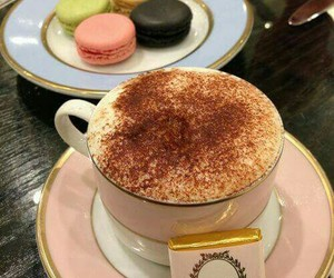coffee, laduree, and macaroons image