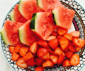 strawberry, summer, and watermelon image