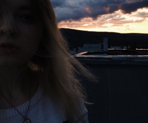 girl, roof, and sky image