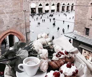food, coffee, and flowers image