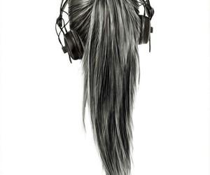 music, hair, and headphones image
