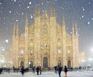 snow, milan, and italy image