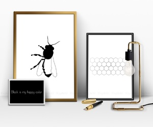 beautiful, bee, and black and white image