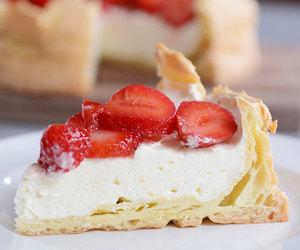 cake, cream puff, and strawberry image