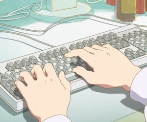 anime, keyboard, and office image