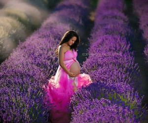 pink dress, pregnant, and woman image