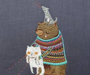 animal, bear, and embroidery image