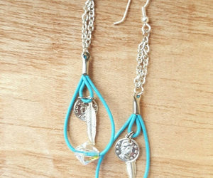 etsy, silver chain, and long earrings image