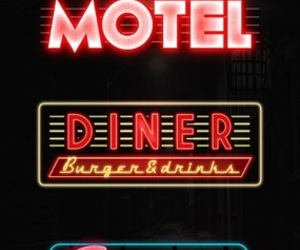 font, googie, and neon image