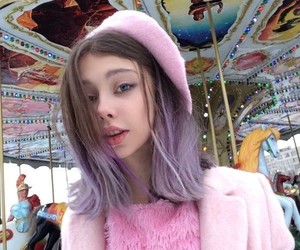 girl, pink, and carousel image