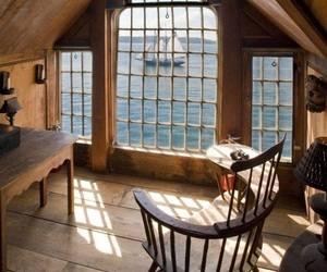 sea, view, and window image