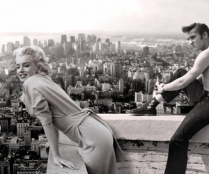 boy, girls, and Marilyn Monroe image