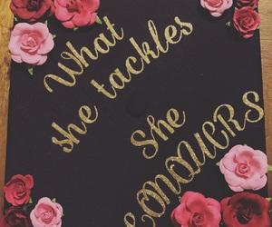 cap, flowers, and graduation image