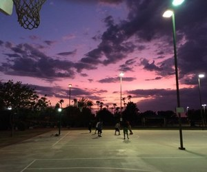 sky, sunset, and Basketball image