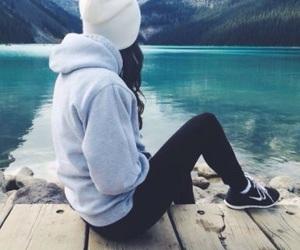 girl, mountains, and lake image