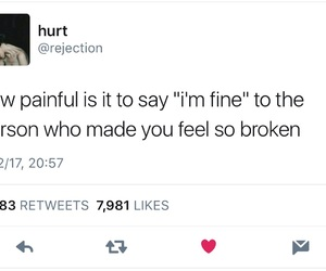 broken, im fine, and crying image