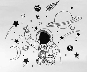space, stars, and planet image