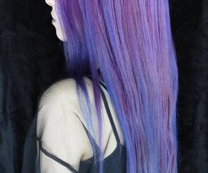 colored hair, dyed hair, and purple hair image