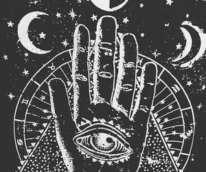 moon, drawing, and hamsa image