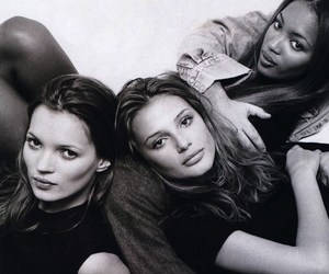 model, kate moss, and black and white image