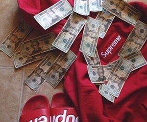 red, money, and supreme image