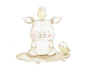 Chicken, pig, and illustration image